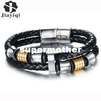 Wholesale dhgate bracelets lobster for sale - Group buy dhgate Classic Stainless Steel Bracelet Wrap Braid Leather Bracelets Men Black Multilayer Rope Bangle Men Jewelry