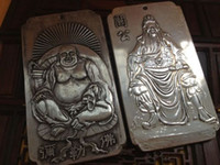 Wholesale Chinese Silver Statue - 2 PCS Exquisite Old Chinese Tibetan Silver Maitreya Buddha and Guan Gong Statue Auspicious Amulet Plates