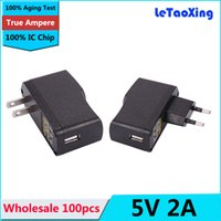 Wholesale ac dc adapter phone online - 100pcs AC DC V A USB charger mA Power Adapter USB Wall Charger EU US Plug For Tablet PC MID Phone DHL