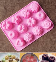 Wholesale Wholesale Muffin Pans - Free shipping 50pcs lot Silicone Cake,jelly,Chocolate Mold Muffin Cupcake pudding Pan- Multiple Flowers pattern