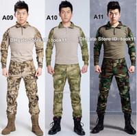 Wholesale Emerson Shirt Pants - Wholesale army camouflage suit german military uniform multicam camo combat shirt + emerson tactical pants kryptek paintball equipment black