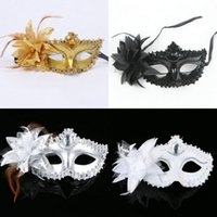 Wholesale Sexy Eye Masks - Fashion Women Sexy Hallowmas Venetian eye mask masquerade masks with flower feather Easter mask wedding birthday dance party holiday h22