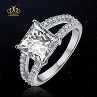 Wholesale Princess Plates - Top quality 18K gold Plated Micro Inlay princess cut CZ diamond engagement Wedding Rings
