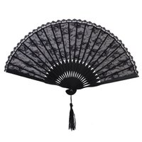 0.7-0.9M spanish party decorations - Spanish Victorian Hand Fan for Wedding Party Favor Fancy Dress Black Japanese Folding Pocket Fan