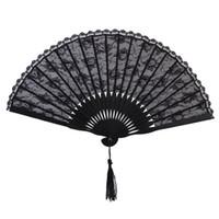 fantasia, dobrado, mão, fãs venda por atacado-Ventilador de mão vitoriana espanhol para festa de casamento favor fantasia japonês preto bolso ventilador de bolso