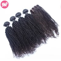 Wholesale Cheap 5pcs Curly Hair - 5Pcs Lot Mongolian Kinky Curly Hair with Closure, 7A unprocessed cheap 4pcs Mongolian Curly Hair Bundle with Lace Closure 4x4