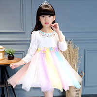 Wholesale Rainbow Long Sleeve Dresses - baby girl kids children Korean crystal flower cotton top rainbow tutu tulle split dress Long sleeve vest Costumes party Princess Dress