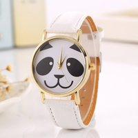 Wholesale Panda Pins - Cute Panda Pattern Watch Women Quartz Wrist Watches Fashion Faux Leather Band Ladies Casual Students Wristwatch