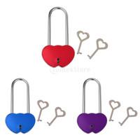 ключ от замкового ключа оптовых-Оптовая торговля-романтический один замок с двумя ключами замок сердце любовь замки пара замки свадьба пользу подарок