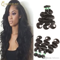 Wholesale Natural India Hair - Raw Temple India Virgin hair Weave Bundles Body wave 1B Dyeable Unprocessed Remy human hair extension Free Shipping Queenlike Silver 7A