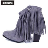 Wholesale Blue Suede Shoes Comfort - Wholesale-Big size 33-43 Suede Spring Autumn Women ankle boots Tassel Fringe Heels Fashion Comfort shoes Flock Black Brown Beige Grey Red
