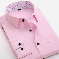 Großhandel-Sommer 2017 Männer lange Ärmel Slim Fit Kleid Shirts Patchwork Turn-down Kragen Inner Polka Dot Pattern Business Formal Twill Shirt