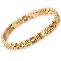 edelstahl schwere armbänder groihandel-Gold-Silber überzogenen Hiphop Armband Präsident Strap Armband Edelstahl 316L die Frauen Männer Schweres Armband-Armbänder 7mm * 20.5cm