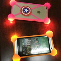 Wholesale led 3d iphone case - Universal LED Slicone bumper Phone Case 3D Cartoon Lamp luminous Phone frame cover cases for iphone x 8 6 7 plus samsung s9 s8 plus