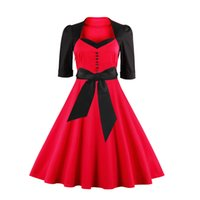 Wholesale Cheap Ladies Cotton Dresses - New Elegant Black and Red Half Long Sleeves Vintage Women Dresses 2017 Knee Length Cheap Ladies Girls Casual Dresses with Covered Bow FS1110