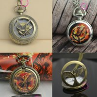 Wholesale Cheap Vintage Pocket Watches - Wholesale- retro 2 two bronze vintage fashion cool bird quartz the hunger games pocket watch wholesale low price good quality cheap hot
