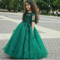 Wholesale Kids Hot Pink Ball Gowns - 2017 Hunter Green Hot Cute Girl's Pageant Dresses Arabic Sheer Short Sleeves Princess A Line Kids Formal Wears Flower Girl Dresses