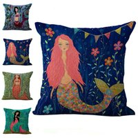 Wholesale Case Sexy - Sexy Mermaid Pillow Case Cushion cover Linen Cotton Throw Pillowcases sofa Bed Pillow covers Home Drop shipping