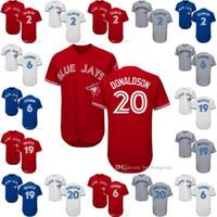 Wholesale Toronto 19 - 2017 Men's Baseball Jerseys Toronto Blue Jays 20 Josh Donaldson 19 Jose Bautista 2 Troy Tulowitzki 6 Marcus Stroman Flex Base Jersey