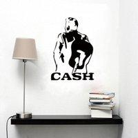 ingrosso disegnando pareti della camera da letto-Johnny Cash Art Decor Pattern Adesivi murali in vinile Drawing Room Adatto per camera da letto Murale DIY