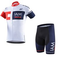 Wholesale Iam Cycling - Hot cycling jersey pro team IAM Men's summer bib shorts Breathable fietskleding wielrennen zomer heren set maillot ciclismo Outdoor A1603