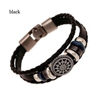 Vintage Black Brown Bracelete de couro genuíno Braid Rope Multi-layer Bead Charm Bracelet Mens Jóias Presentes de festa Hot Wholesale