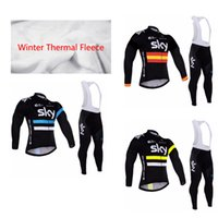 Wholesale Mens Cycling Sets - 4 Styles SKY Team Men's Cycling Jersey Set  2017 Winter Thermal Fleece Bicycle Clothing Mens Bicycle Clothing Bike Clothes, Gel Pad .