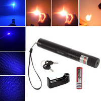 Wholesale Blue Laser Pen Charger - Blue Purple Laser Pointer Pen High Power 303 2 in 1 Bright Starry Violet Laser + 18650 Battery + Charger + Safe Key