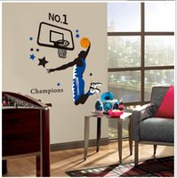 Wholesale Slam Dunk Stickers - Wholesale PVC Sport Slam Dunk Creative Art Mural Wall Sticker Removable Decal for Living Room Bedroom and Boy's Room Home Decoration