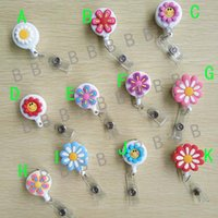Wholesale Flower Labels - 11pcs Flower Design Cute Retractable Badge Reel Student Nurse Exihibiton ID Name Card Badge Holder Office