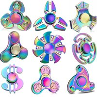 Wholesale Rainbow Brass Tri Spinner Hand Spinner Metal Gold EDC Fidget Toy Sensory Fidget Spinners for Autism and ADHD Kids Anti StressToy