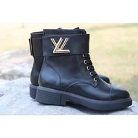 Wholesale Black Platform Winter Boots - Fashion New Womens Knight Boots Cowboy Shoes Platform Ankle Boots Genuine Leather Buckle Designer Luxury Winter Black Shoes SZ35-41