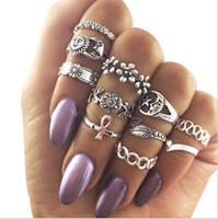 Wholesale Al Ring - 60set 11pcs set Women's Calf Knuckle Carved Crystal flower Midi Finger Rings Ring anelli donna lotes al por mayor Set F156
