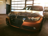 Wholesale Brown Tail - Satin Chrome BROWN Vinyl Car Wrap Film With Air Channels matt chrome copper covering film Size 1.52x20m Roll 5x66ft