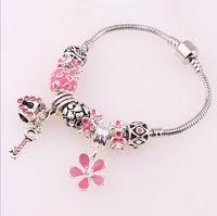 Wholesale Drills Retro Bracelets - Flowers love key lock retro wind crystal bracelet diamond drill ball jewelry Ladies bracelet
