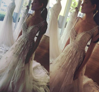 Wholesale Silver Beach Wedding Dress - Modest 2017 Summer Beach A Line Wedding Dresses With Silver Lace Beaded Court Train Plus Size Bridal Wedding Gowns For Garden Country Cheap