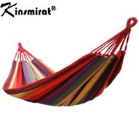 Wholesale Outdoor Adult Swings - Wholesale- Portable 190 x 80cm Outdoor Hammock Sleeping Bag Outdoor Sports Home Travel Camping Swing Canvas Stripe Hang Bag