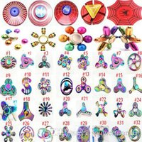 Wholesale Spider Man Top - Fidget spinner Rainbow Led Hand Spinners The Avengers Cartoon spider iron spider man toys spinning top EDC finger Toy in metal box