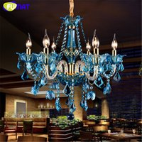 Wholesale Lampe E14 - FUMAT Blue Crystal Chandelier Creative Candle Crystal Lighting Living Room Restaurant Bar E14 Candle Lampe Lustre Light Fixtures