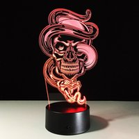 Wholesale Ghost Nights - 2017 Spooky Ghost 3D Optical Illusion Lamp Night Light DC 5V USB Charging AA Battery Dropshipping Free Shipping