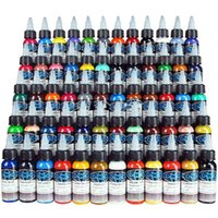 Wholesale Tattoo Pigment Sets - New Tattoo Ink Fusion 60 Colors Set 1 oz 30ml Bottle Tattoo Pigment Kit Free Shipping