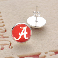 Wholesale Pendant Earings - 10Pairs Sports Team NCAA Alabama Charms Glass Earings 3Style Jewelry Stud Pendant Earrings