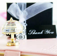 "Wholesale Elegant Table Lamps - Wedding crystal table lamp with Gold rim packing is ""thank you"" gift box elegant wedding gift decoration"