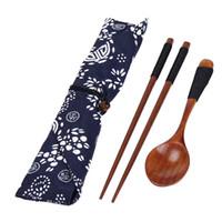 Wholesale vintage wood spoon - Wholesale- Portable Wooden Chopsticks Spoon Tableware Set Vintage + Blue Bag u6922