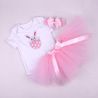 Wholesale Wholesale Easter Outfit Baby - Easter baby girl infant toddler 3piece outfits birthday cupcake romper onesies pajamas PJ'S + tutu skirt pettiskirt cake + headband 3sets