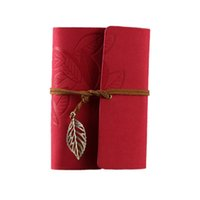 Wholesale Blank Diaries - Wholesale- Vintage Leaf PU Leather Cover Loose Leaf Blank Notebook Journal Diary Gift (Rose red)