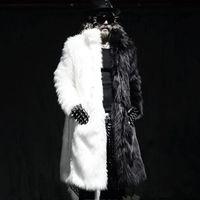 Wholesale Men Faux Fur Parka - Wholesale- Luxury Winter Men Long Faux Fur Coats 2016 Warm Thick Fox Fur Jackets Plue Size XXXL 4XL White Black Parka Coat Windbreaker Robe