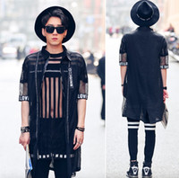 Wholesale Mandarin Collar Lace Dress - Wholesale- 2017 Fashion Harajuku Irregular Mens Black See Through Shirts Lace Slim Fit Luxury Mesh Shirt Casual Dress Western Shirts Men