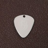 Wholesale Guitar Picks Blank - 100pcs lot Blank Stainless Steel Dog ID Tags Triangular Guitar Pick mental pet dog tags wholesale