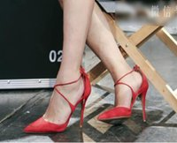 Wholesale Ladies Dress High Heels - newly women's dressing high heel shoes suede leather pointed toe lady shoes red black lace up hiigh heels